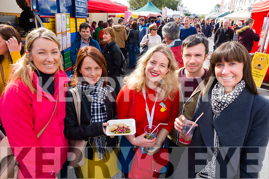 Gail Kelly, Julie Deane, Maria Moynihan, Danny Riordan and Carol Kelly, pictured at the Dingle Food Festival on Saturday afternoon last.