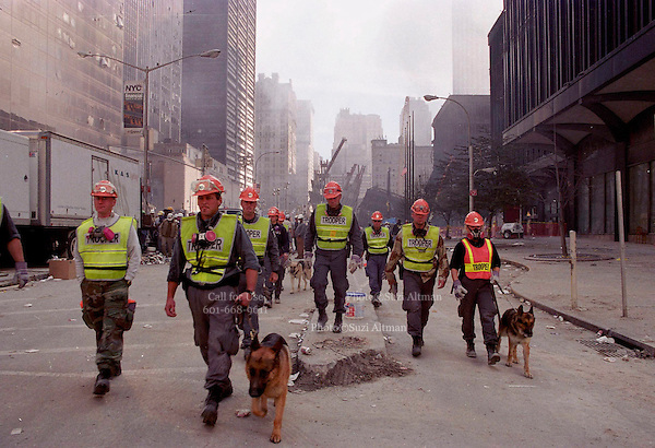 Trooper dogs(dead dogs) evacuated lower manhattan on sunday because another part of a building collapsed. The dogs are used nto locate bodies in the rubble fron the Sept. 11th attack at the world trad centery in lower Manhattan Sunday 16,2001.(Photo/Suzi Altman)