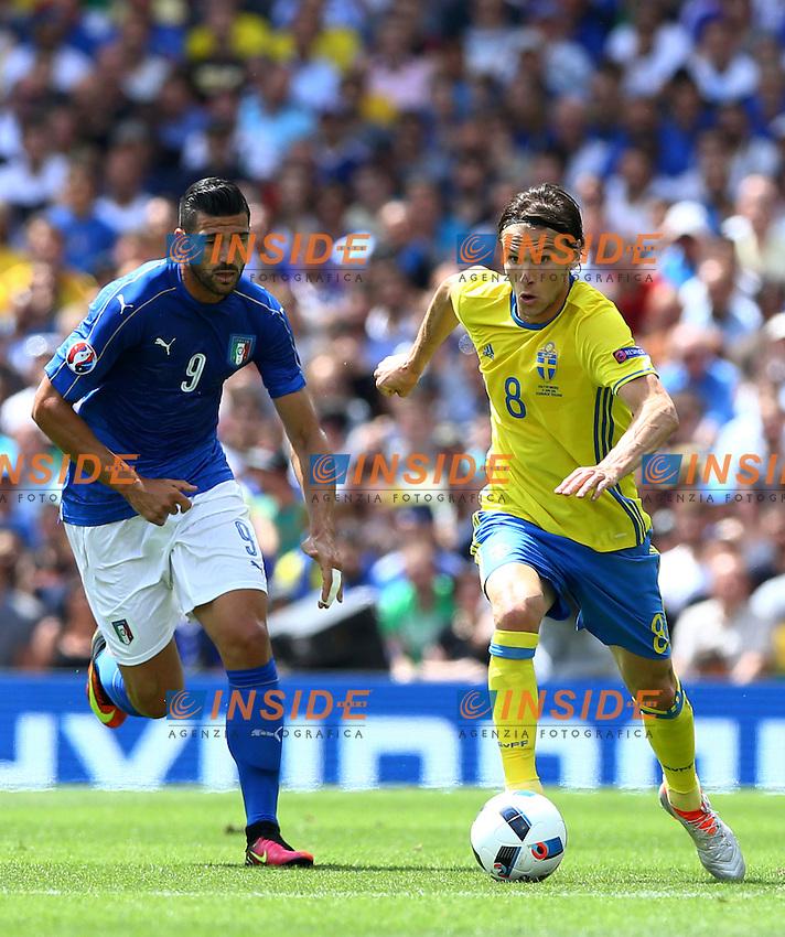 Albin Ekdal Sweden and Graziano Pelle Italy<br /> Toulouse 17-06-2016 Stade Velodrome Footballl Euro2016 Italy - Sweden  / Italia - Svezia Group Stage Group E. Foto Matteo Ciambelli / Insidefoto