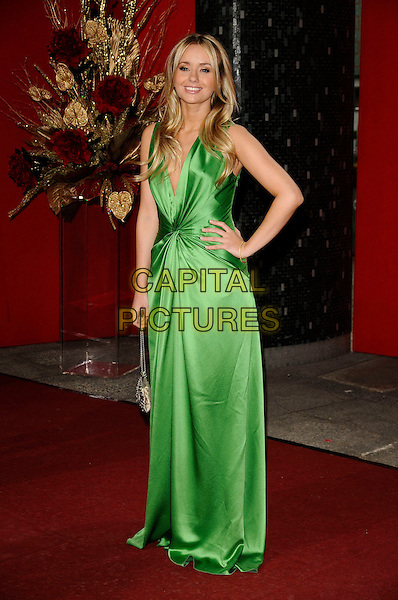 SAMMY WINWARD.Arrivals - the British Soap Awards 2009,.BBC Television Centre, Wood Lane, London, England, UK, May 9th 2009..soaps tv full length green silk satin dress hand on hip long maxi Emmerdale low cut knotted .CAP/CAN.©Can Nguyen/Capital Pictures