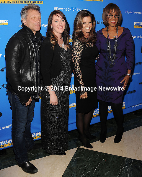 Pictured: Jon Bon Jovi, Katrina Gilbert, Maria Shriver, Gayle King<br /> Mandatory Credit &copy; Jack Shea/Starshots/Broadimage<br /> Paycheck To Paycheck: The Life And Times Of Katrina Gilbert - New York Premiere<br /> <br /> 3/13/14, New York City, New York, United States of America<br /> <br /> Broadimage Newswire<br /> Los Angeles 1+  (310) 301-1027<br /> New York      1+  (646) 827-9134<br /> sales@broadimage.com<br /> http://www.broadimage.com