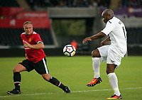 Adrian Forbes of Swansea (R) in action during the Swansea Legends v Manchester United Legends at The Liberty Stadium, Swansea, Wales, UK. Wednesday 09 August 2017