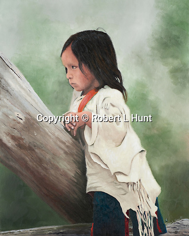 "A young shy Sioux girl looks on with a guarded expression, a Native American child portrait. Oil on canvas, 16"" x 20""."