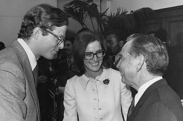 Rep. Carl Albert, D-Okla. and Rep. Elizabeth Holtzman in 1975. (Photo by Dev O'Neill/CQ Roll Call)