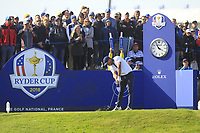 Brooks Koepka (Team USA) on the 10th tee during Saturday Foursomes at the Ryder Cup, Le Golf National, Ile-de-France, France. 29/09/2018.<br /> Picture Thos Caffrey / Golffile.ie<br /> <br /> All photo usage must carry mandatory copyright credit (© Golffile | Thos Caffrey)