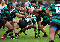 Action from the Wellington premier club rugby Swindale Shield match between Old Boys University and Wainuiomata at Kelburn Park in Wellington, New Zealand on Saturday, 13 May 2017. Photo: Dave Lintott / lintottphoto.co.nz