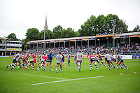 Bath Rugby players warm-up prior to the match. Aviva Premiership match, between Bath Rugby and Newcastle Falcons on September 10, 2016 at the Recreation Ground in Bath, England. Photo by: Patrick Khachfe / Onside Images