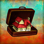 Illustrative image of model house in briefcase depicting home insurance