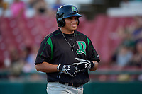 Dayton Dragons Cameron Warren (37) after scoring a run during a Midwest League game against the Kane County Cougars on July 20, 2019 at Northwestern Medicine Field in Geneva, Illinois.  Dayton defeated Kane County 1-0.  (Mike Janes/Four Seam Images)