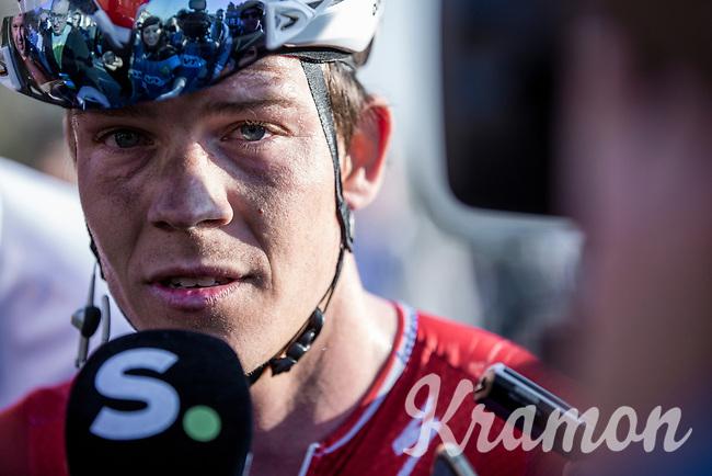 Bob Jungels (LUX/Deceuninck-Quick Step) post race interview<br /> <br /> 62nd E3 Harelbeke 2019 (1.UWT)<br /> Harelbeke – Harelbeke: 203,9km<br /> ©kramon