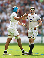 Zach Mercer of England celebrates his try with team-mate Tom Curry. Quilter Cup International match between England and the Barbarians on May 27, 2018 at Twickenham Stadium in London, England. Photo by: Patrick Khachfe / Onside Images