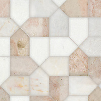 Maxfield, a hand-cut stone mosaic, shown in polished Afyon White, Desert Pink, and Cloud Nine, is part of the Semplice™ collection for New Ravenna.