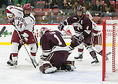 Alexander Kerfoot (Harvard - 14), Charlie Finn (Colgate - 1), Kevin Lough (Colgate - 4) - The Harvard University Crimson defeated the visiting Colgate University Raiders 7-4 (EN) on Saturday, February 20, 2016, at Bright-Landry Hockey Center in Boston, Massachusetts,