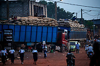 Trucks full of sacks of cocoa beans waiting to be transported to the port of San-Pedro.