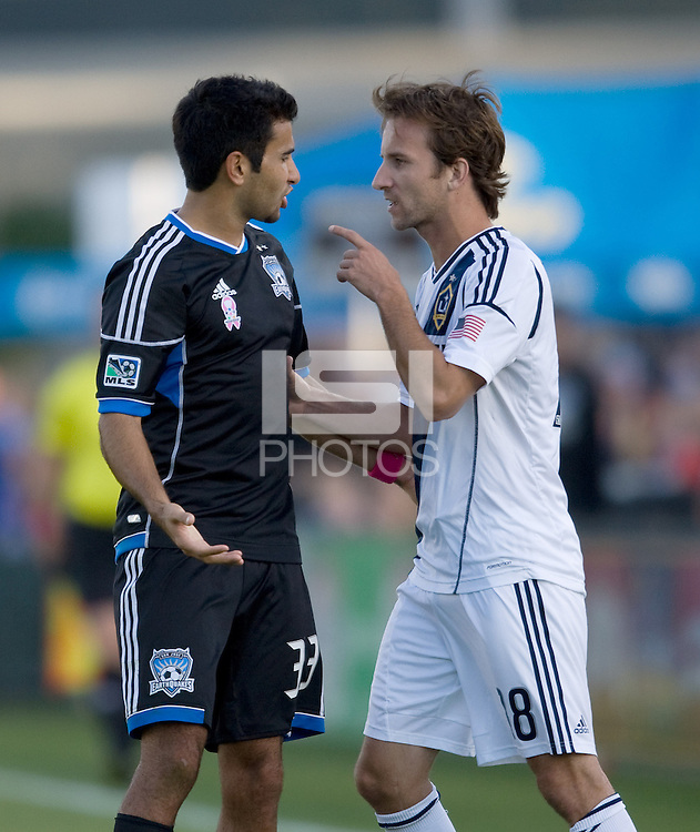 Steven Beitashour of Earthquakes argues with Mike Magee during the game at Buck Shaw Stadium in Santa Clara, California on October 21st, 2012.  San Jose Earthquakes and Los Angeles Galaxy tied at 2-2.