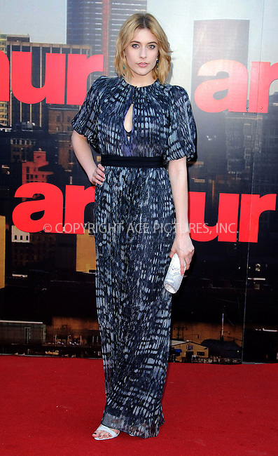 WWW.ACEPIXS.COM . . . . .  ..... . . . . US SALES ONLY . . . . .....April 20 2011, London....Actress Greta Gerwig arriving at the European Premiere of Arthur at Cineworld 02 on April 19, 2011 in London....Please byline: FAMOUS-ACE PICTURES... . . . .  ....Ace Pictures, Inc:  ..Tel: (212) 243-8787..e-mail: info@acepixs.com..web: http://www.acepixs.com