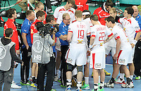 12.01.2013 Barcelona, Spain. IHF men's world championship, Quarter-Final. Picture show Denmark time out during game between Denmark vs Hungary at Palau ST Jordi