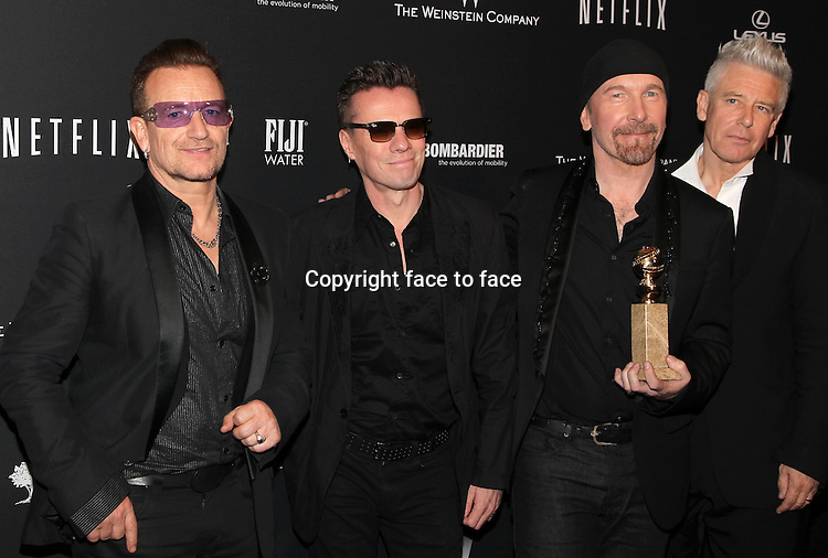 Beverly Hills, California - January 12: Bono, Larry Mullen, Jr., The Edge, Adam Clayton at The Weinstein Company &amp; Netflix 2014 Golden Globes After Party on January 12, 2014 at The Beverly Hilton Hotel, California. <br /> Credit: MediaPunch/face to face<br /> - Germany, Austria, Switzerland, Eastern Europe, Australia, UK, USA, Taiwan, Singapore, China, Malaysia, Thailand, Sweden, Estonia, Latvia and Lithuania rights only -