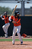 San Francisco Giants Orange shortstop CJ Hinojosa (29) at bat in a rehab appearance during an Extended Spring Training game against the Seattle Mariners at the San Francisco Giants Training Complex on May 28, 2018 in Scottsdale, Arizona. (Zachary Lucy/Four Seam Images)