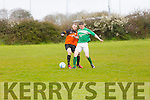 In Action Park's Dan Barrett and Castleisland's Martin Moriarty at the  Denny Div 1 'A' St Brendans Park B v Castleisland Afc B at Christy Leahy Park on Sunday