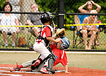 WATERBURY, CT-0712217JS03--Wolcott's Caden Balisle (12) was called safe at home while BC Cyclone's Jayr Figueroa (18) cover the plate during their Roberto Clemente Tournament game Saturday at Municipal Stadium in Waterbury. <br /> Jim Shannon Republican-American