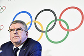 December 7th 2017, LAUSANNE, Switzerland;  International Olympic Committee (IOC) President Thomas Bach holds a press conference in Lausanne, Switzerland, Dec. 6 2017. The IOC on Tuesday decided to suspend the Russian Olympic Committee from the 2018 Pyeongchang Winter Olympic Games