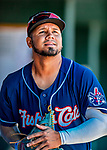 18 July 2018: New Hampshire Fisher Cats outfielder Eduard Pinto walks in the dugout during a game against the Trenton Thunder at Northeast Delta Dental Stadium in Manchester, NH. The Thunder defeated the Fisher Cats 3-2 concluding a previous game started April 29. Mandatory Credit: Ed Wolfstein Photo *** RAW (NEF) Image File Available ***