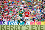 David Moran Kerry in action against Ian Maguire Cork in the Munster Senior Football Final at Fitzgerald Stadium on Sunday.