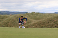 TJ Ford (Co. Sligo) on the 11th green during Round 2 of Match Play in the AIG Irish Close Championship at the European Club, Brits Bay, Wicklow, Ireland on Monday 6th August 2018.<br /> Picture: Thos Caffrey / Golffile<br /> <br /> All photo usage must carry mandatory copyright credit (&copy; Golffile | Thos Caffrey)