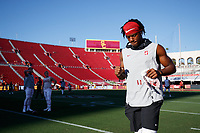 LOS ANGELES, CA - SEPTEMBER 7: Paulson Adebo #11 of the Stanford Cardinal warms up during a game between USC and Stanford Football at Los Angeles Memorial Coliseum on September 7, 2019 in Los Angeles, California.