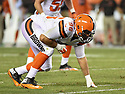 CLEVELAND, OH - AUGUST 18, 2016: Defensive end Xavier Cooper #96 of the Cleveland Browns awaits the snap in the third quarter of a preseason game on August 18, 2016 at FirstEnergy Stadium in Cleveland, Ohio. Atlanta won 24-13. (Photo by: 2016 Nick Cammett/Diamond Images) *** Local Caption *** Xavier Cooper