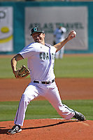 Coastal Carolina Chanticleers pitcher Austin Wallace #18 during a game against the Ohio State Buckeyes at Watson Stadium at Vrooman Field on March 11, 2012 in Conway, SC. Coastal Carolina defeated Ohio State 3-2. (Robert Gurganus/Four Seam Images)