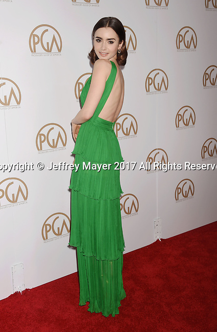 HOLLYWOOD, CA - JANUARY 28: Actress Lily Collins arrives at the 28th Annual Producers Guild Awards at The Beverly Hilton Hotel on January 28, 2017 in Beverly Hills, California.