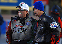 Jan 21, 2007; Las Vegas, NV, USA; NHRA Funny Car driver John Force talks with Top Fuel Dragster driver Jack Beckman during preseason testing at The Strip at Las Vegas Motor Speedway in Las Vegas, NV. Mandatory Credit: Mark J. Rebilas