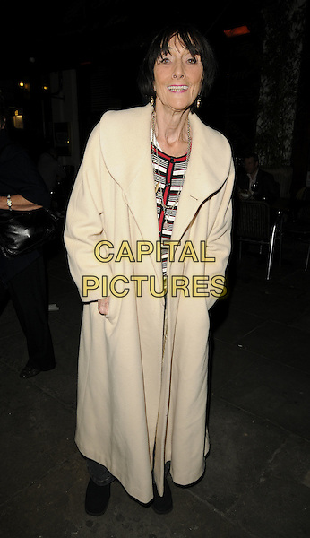 "JUNE BROWN .Leaving the theatre after performing in ""Calendar Girls"", Noel Coward Theatre, London, England, UK, .October 30th 2009..full length white cream long maxi coat .CAP/CAN.©Can Nguyen/Capital Pictures"