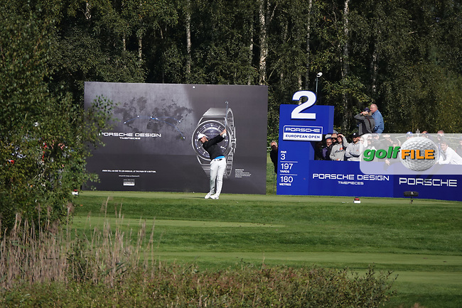 Lucas Bjerregaard (DEN) in action during the second round of the Porsche European Open , Green Eagle Golf Club, Hamburg, Germany. 06/09/2019<br /> Picture: Golffile | Phil Inglis<br /> <br /> <br /> All photo usage must carry mandatory copyright credit (© Golffile | Phil Inglis)
