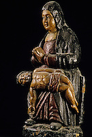 Europe/France/Auvergne/15/Cantal/Saint Flour/Musée de la Haute-Auvergne: Pieta bois polychromé - Art rustique