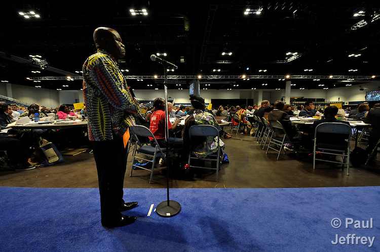 Muland Aying Kambol, a delegate from the Democratic Republic of the Congo, speaks at the May 1 session of the 2012 United Methodist General Conference in Tampa, Florida, during a debate on the denomination's position on human sexuality.