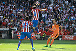 Atletico de Madrid's Thomas Teye and Saúl Ñígez and SD Eibar's Adrian Gonzalez during Liga Liga match between Atletico de Madrid and SD Eibar at Vicente Calderon Stadium in Madrid, May 06, 2017. Spain.<br /> (ALTERPHOTOS/BorjaB.Hojas)