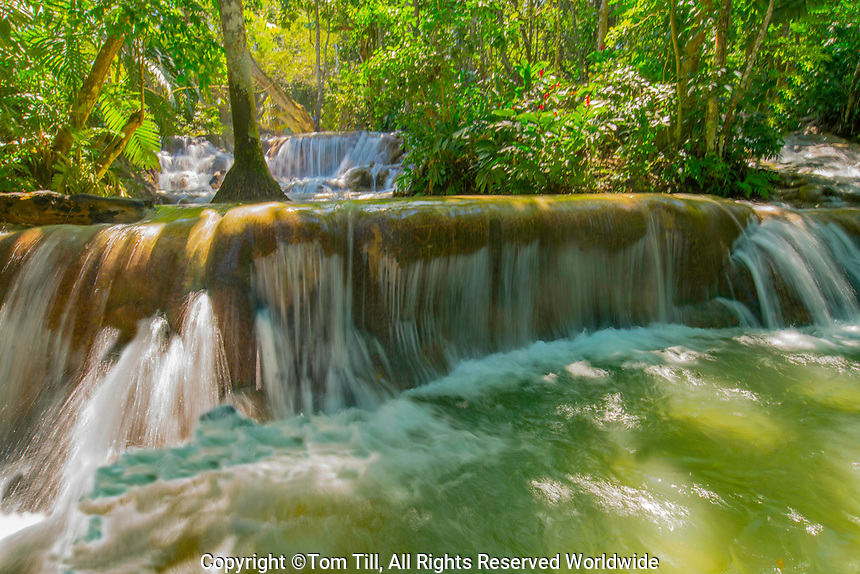 Dunns Falls, Jamaica,  Caribbean Sea, Waterfall over travertine