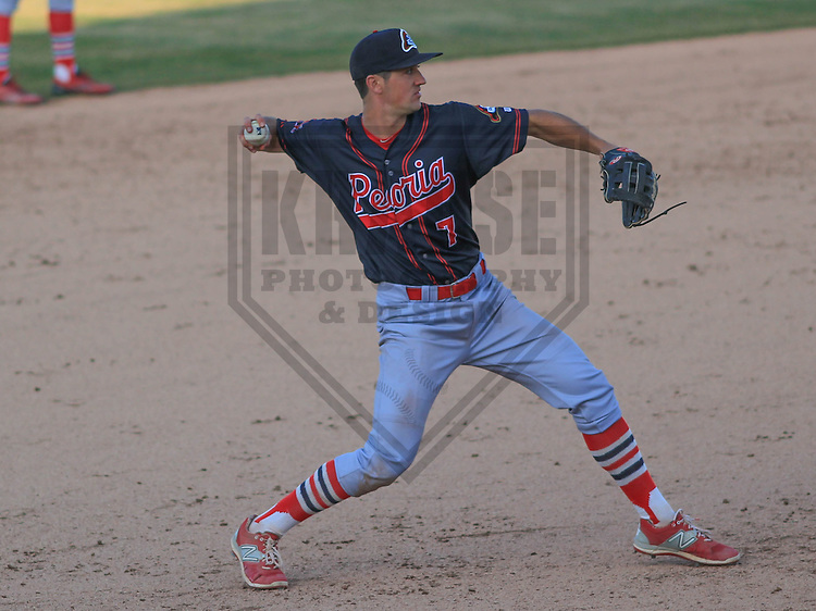 APPLETON - April 2015: third baseman Danny Diekroeger (7) of the Peoria Chiefs during a game against the Wisconsin Timber Rattlers on April 12th, 2015 at Fox Cities Stadium in Appleton, Wisconsin. (Photo Credit: Brad Krause)