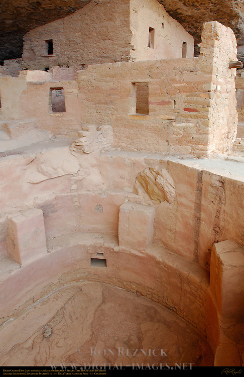 Right Center Kiva Vent and Pilasters and Room Detail, Spruce Tree House Cliff Dwelling, Anasazi Hisatsinom Ancestral Pueblo Site, Chapin Mesa, Mesa Verde National Park, Colorado