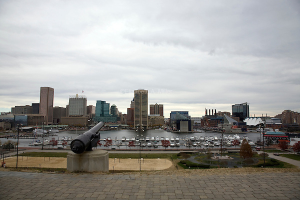 View of the Inner Harbor and downtown Baltimore from Federal Hill.