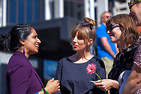 Vanisa Dhiru (National Council Of Women Of New Zealand president) talks to Hannah Clarke (right) as Amelia Handscombe (centre) looks on. Semi-automatic weapons ban and firearms advertising regulation petitions at Parliament in Wellington, New Zealand on Thursday, 21 March 2019. Photo: Dave Lintott / lintottphoto.co.nz