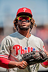 23 August 2018: Philadelphia Phillies outfielder Odubel Herrera takes the field during a game against the Washington Nationals at Nationals Park in Washington, DC. The Phillies shut out the Nationals 2-0 to take the 3rd game of their 3-game mid-week divisional series. Mandatory Credit: Ed Wolfstein Photo *** RAW (NEF) Image File Available ***