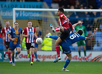 Lincoln City's Tyreece John-Jules battles with Shrewsbury Town's Oliver Norburn<br /> <br /> Photographer Andrew Vaughan/CameraSport<br /> <br /> The EFL Sky Bet League One - Shrewsbury Town v Lincoln City - Saturday 11th January 2020 - New Meadow - Shrewsbury<br /> <br /> World Copyright © 2020 CameraSport. All rights reserved. 43 Linden Ave. Countesthorpe. Leicester. England. LE8 5PG - Tel: +44 (0) 116 277 4147 - admin@camerasport.com - www.camerasport.com