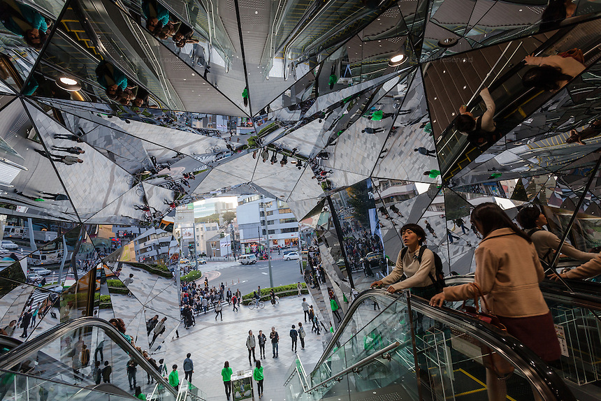 The mirrored entrance hall to the Tokyu Plaza building in Omotesando, Tokyo, Japan. Friday October 24th 2014