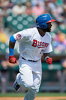 Buffalo Bisons center fielder Anthony Alford (7) runs to first base during a game against the Pawtucket Red Sox on June 28, 2018 at Coca-Cola Field in Buffalo, New York.  Buffalo defeated Pawtucket 8-1.  (Mike Janes/Four Seam Images)