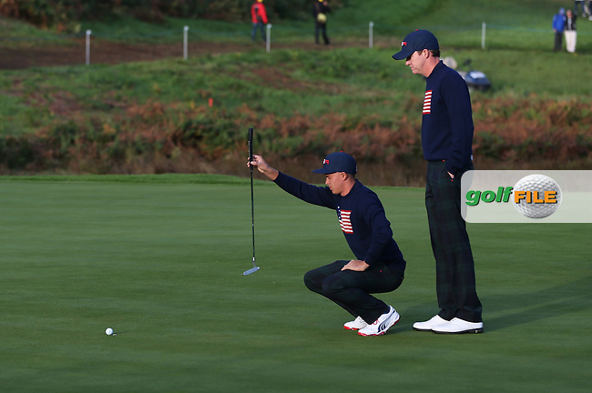 Rickie Fowler and Jimmy Walker (USA) during the Saturday morning Fourballs of the 2014 Ryder Cup at Gleneagles. The 40th Ryder Cup is being played over the PGA Centenary Course at The Gleneagles Hotel, Perthshire from 26th to 28th September 2014.: Picture David Lloyd, www.golffile.ie: \27/09/2014\