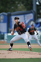 Robert Dugger (18) of the Modesto Nuts pitches against the Rancho Cucamonga Quakes at LoanMart Field on August 1, 2017 in Rancho Cucamonga, California. Rancho Cucamonga defeated Modesto, 2-1. (Larry Goren/Four Seam Images)